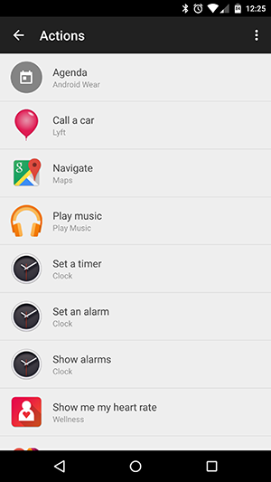android wear actions