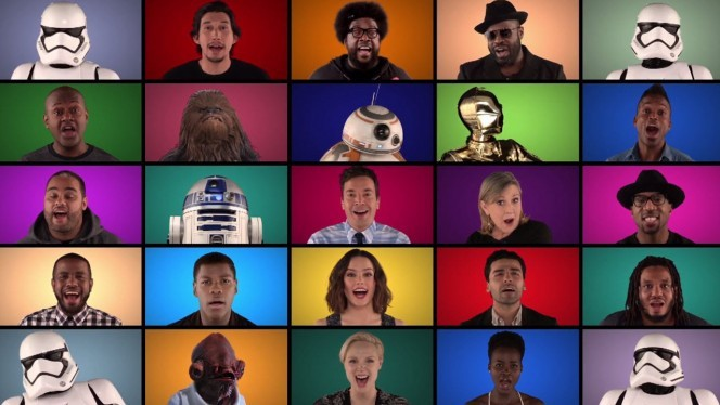 Star Wars 7: The awesome video uniting the main characters....singing!