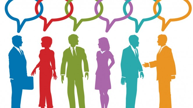 Group of social media or business people talk speech bubble link