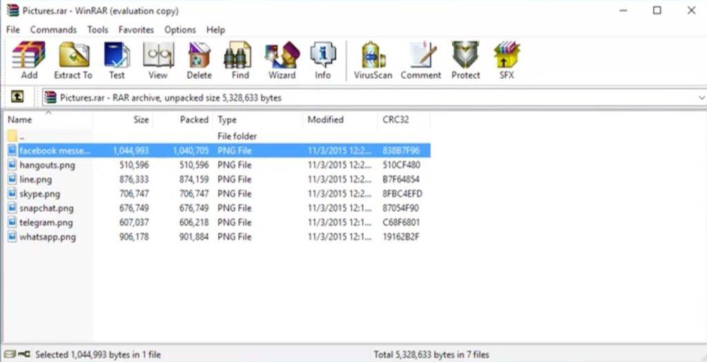 WinRAR - screenshot main