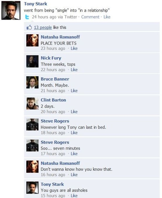 Tony Stark on Facebook