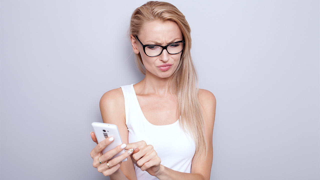 Angry Texting Woman