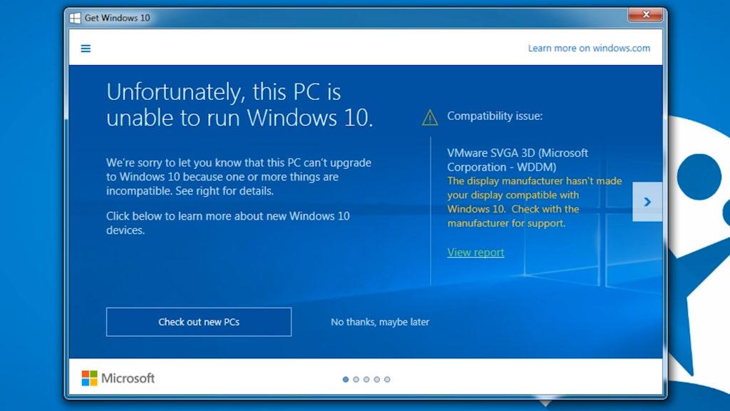 Windows 10 incompatible