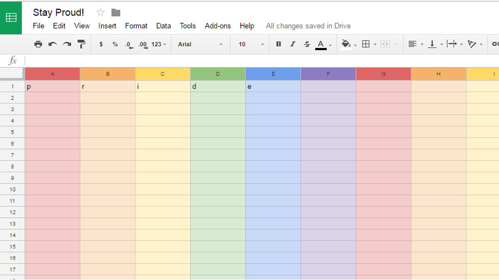 Google Sheets is Proud to be Associated with Pride