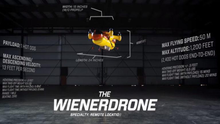 Is it a bird? Is it a plane? No it is a Hot Dog Delivery Drone