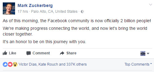 Facebook now has over 2 Billion Active Users zuckerberg post