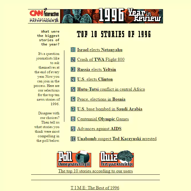 The 13 oldest web pages that are still working today top 10 stories