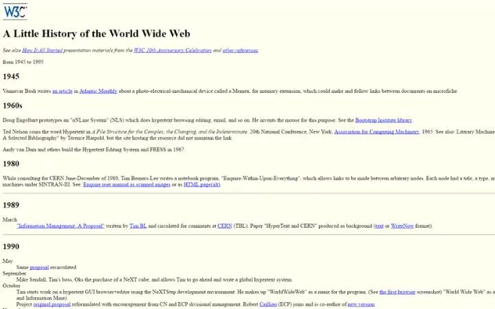 The 13 oldest web pages that are still working today history