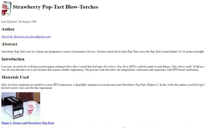 The 13 oldest web pages that are still working today pop tarts