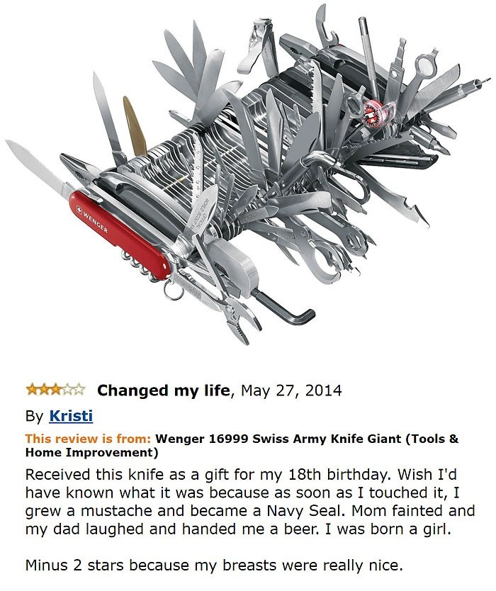 Funny amazon Reviews Swiss army knife