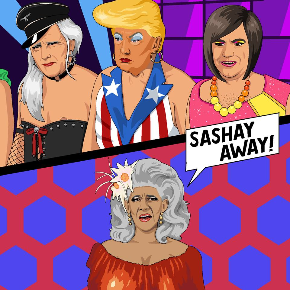 Microsoft Paint is to be Killed off so let's Celebrate all it's Glory Trump, Pence, William Pryor in drag on a RuPaul-esque drag show with Obama as RuPaul telling them to Sashay Away!