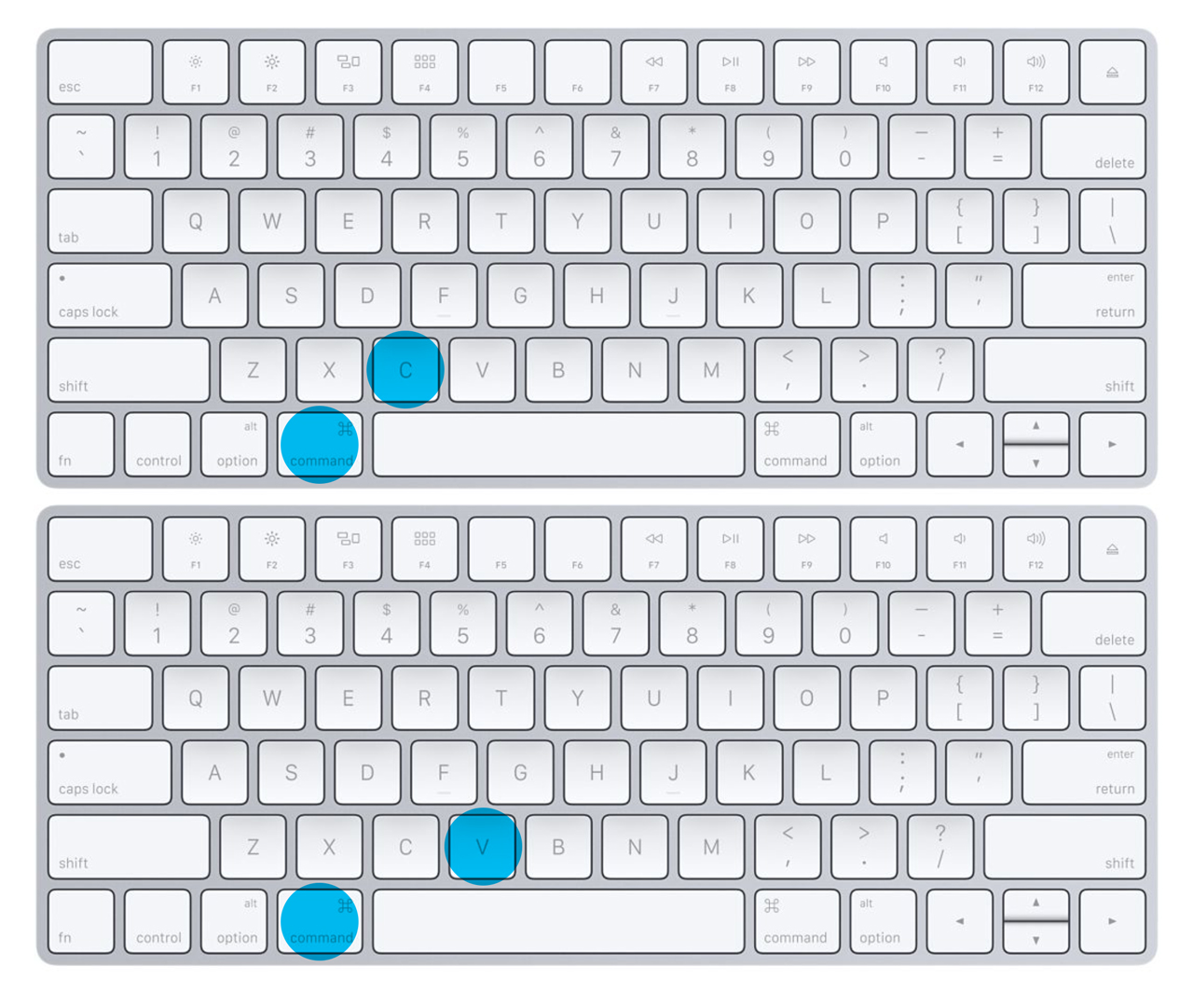 Command + C and Command + V Apple Mac Keyboard Shortcuts
