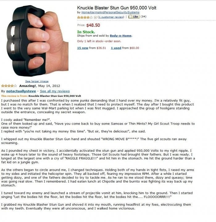 Funny Amazon Reviews knuckle duster