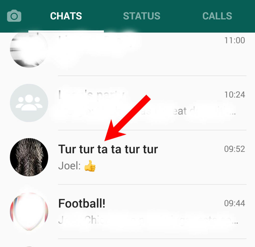Select chat to pin