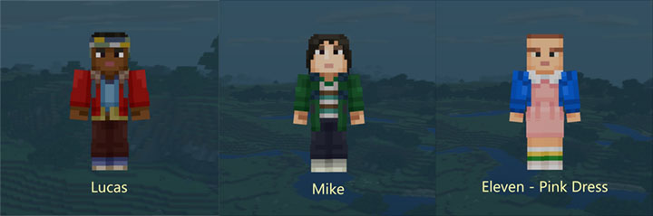 Lucas, Mike, Eleven - Minecraft Stranger Things