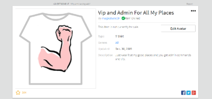 an example of an old style roblox vip t shirt which when worn would give access to vip features in that individual sellers game