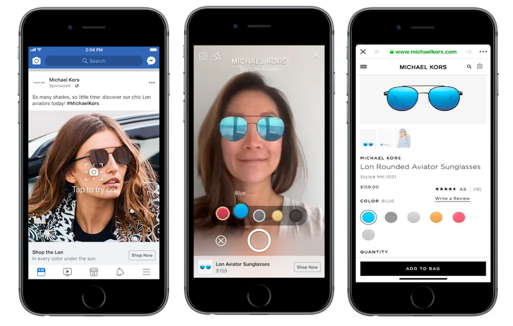 Augmented Reality ads to try on products in Facebook
