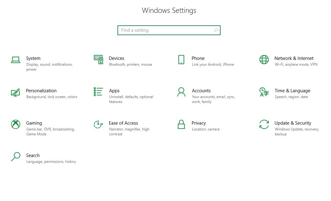 Win10 Settings