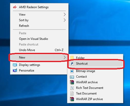 Create a  recent shortcut