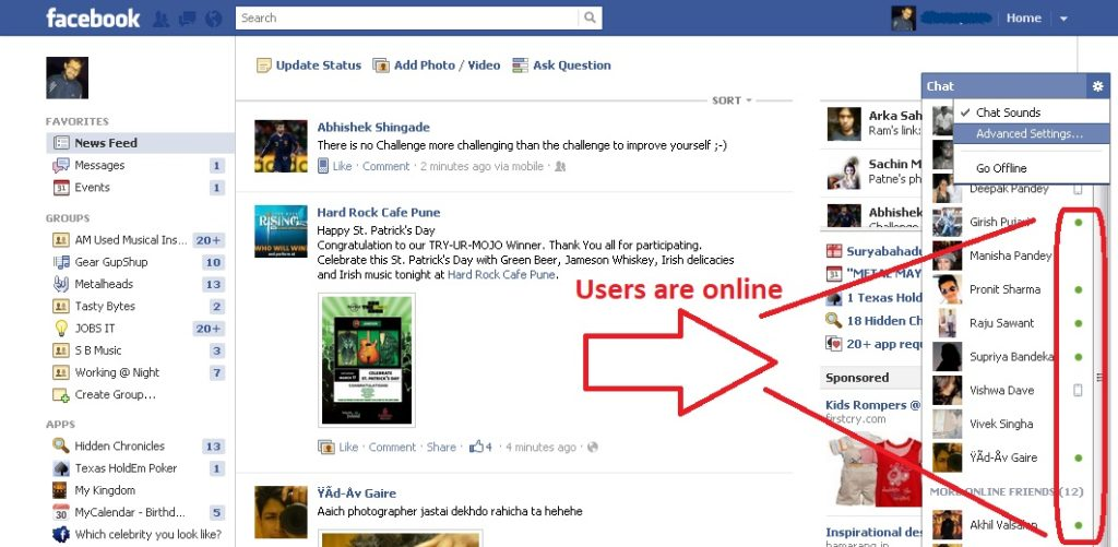 how to know if someone is online on facebook mobile