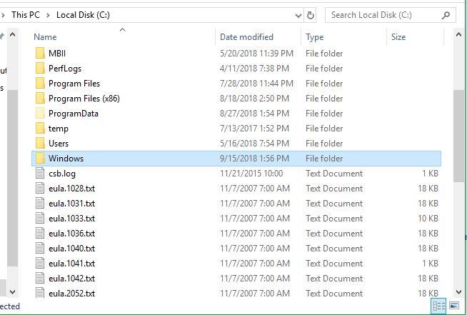 Open Windows folder