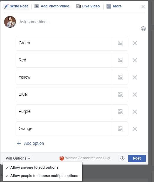Add Options In FB Group