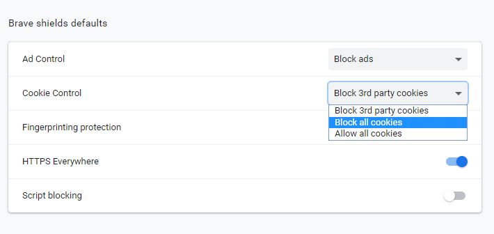 Do you want to block all cookies? Brave lets you decide.