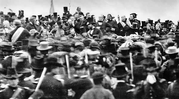 The only actual picture of the Gettysburg Address - he was done speaking before the photographer was even ready!