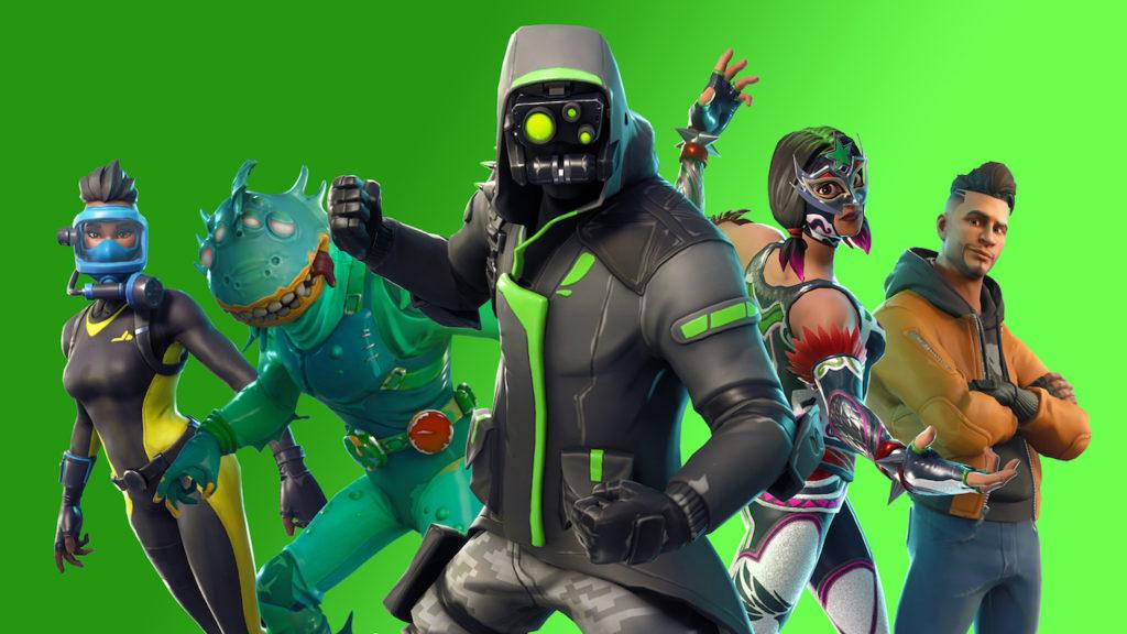 fortnite character lineup green