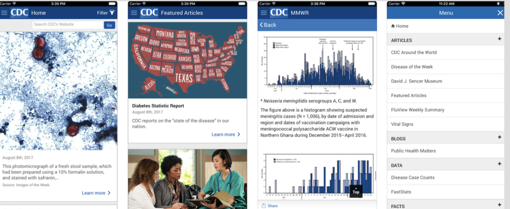 CDC health app screenshots