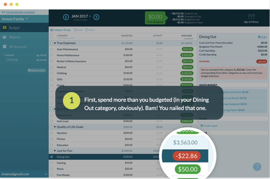 YNAB home screenshot