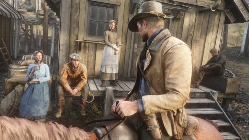 arthur morgan riding red dead redemption 2 town