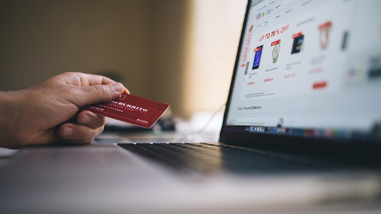 shopping online on a laptop