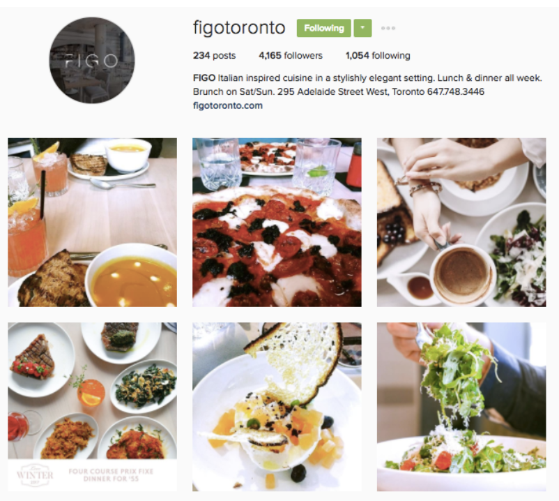 instagram restaurant example