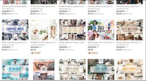 Instagram presets sold on Etsy