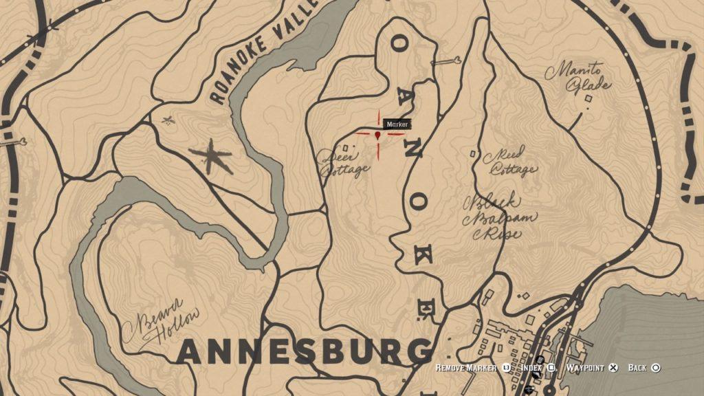 red dead 2 deer cottage carving map