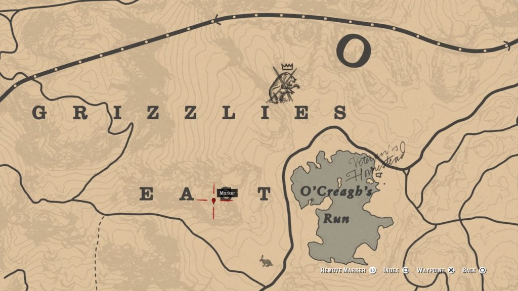 red dead 2 grizzlies east mountain bone map