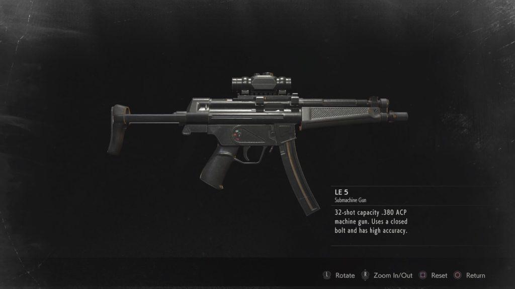 resident evil 2 le-5 submachine gun