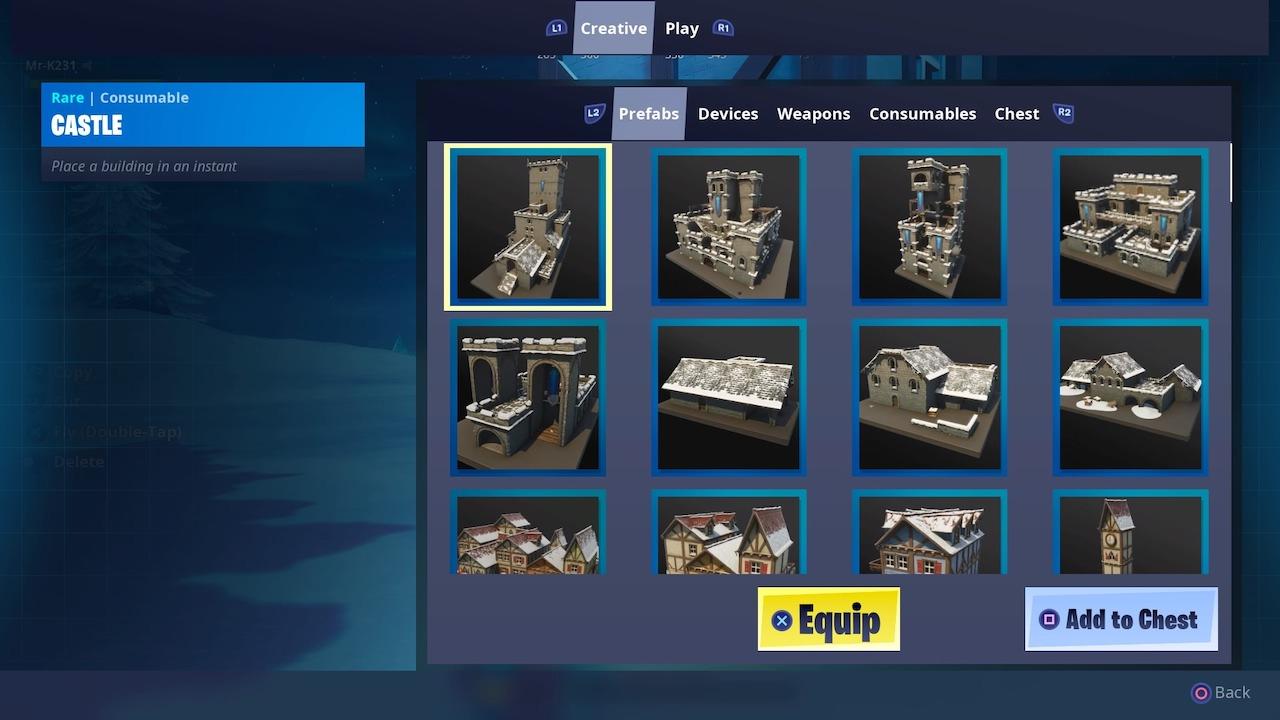 fortnite creative mode assets menu