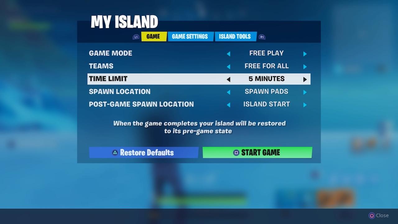 fortnite my island menu