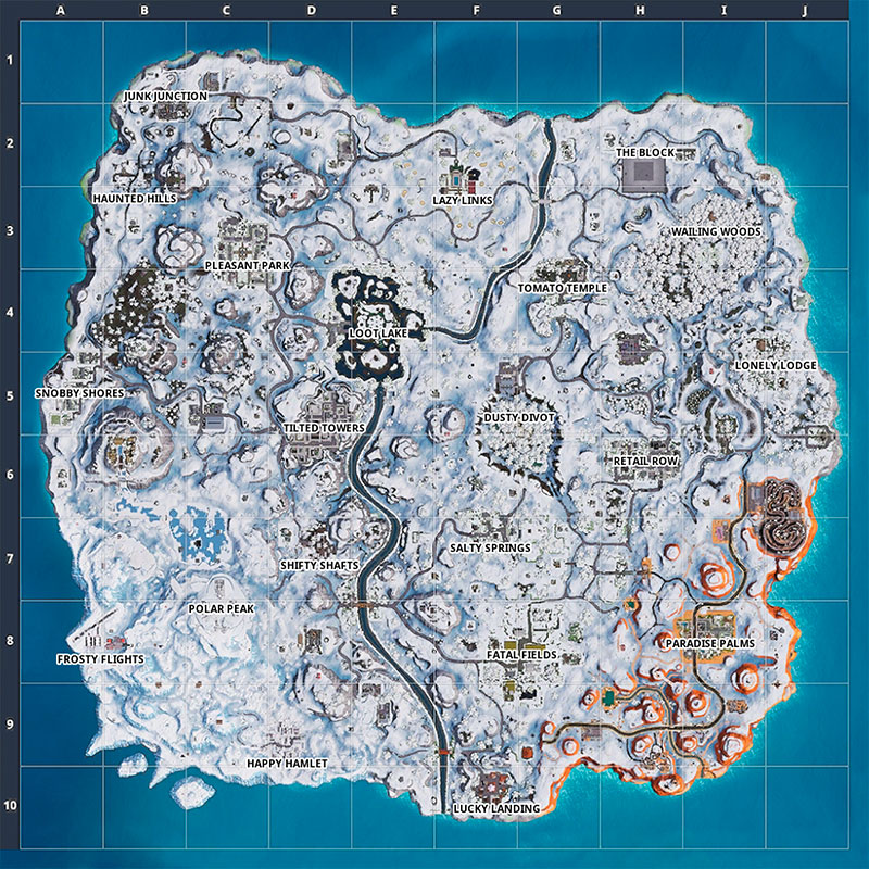 The Fortnite Island Covered in Snow