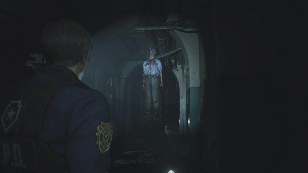 resident evil 2 hanging officer