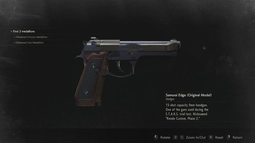 resident evil 2 samurai edge handgun