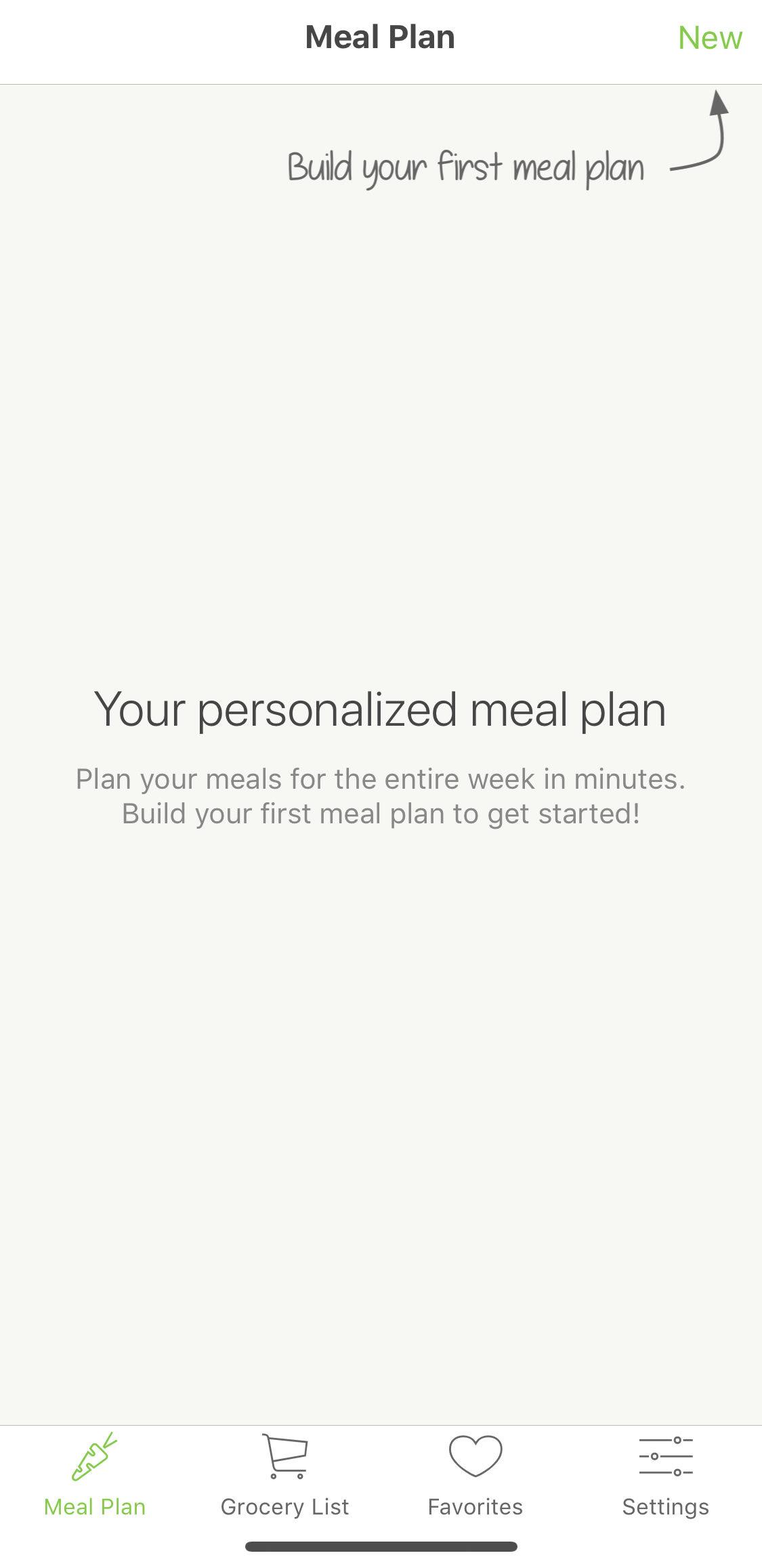 Meal planning start
