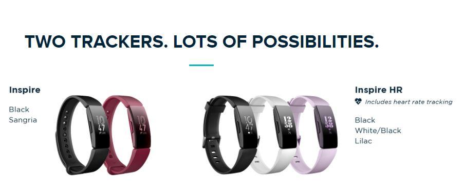 Fitbit Inspire bracelet colors