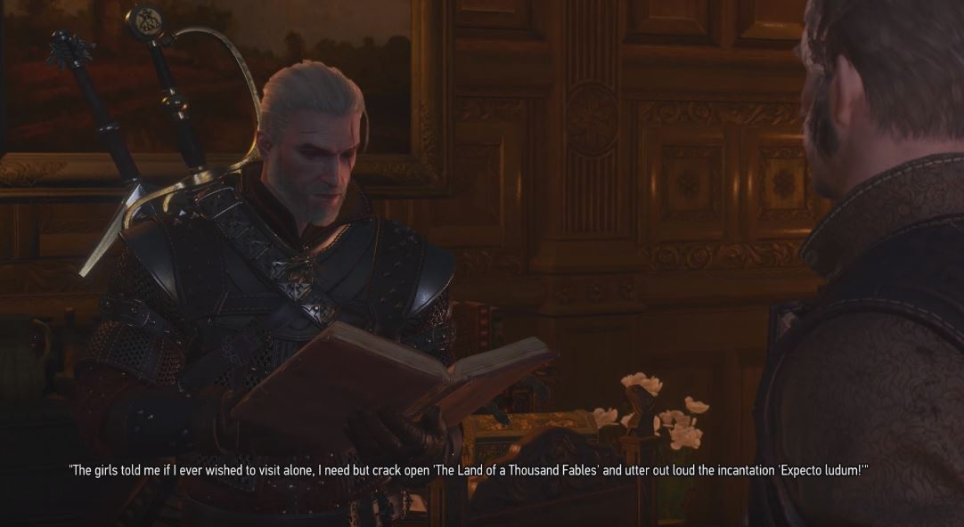 Geralt reading Land of a Thousand Fables Regis Blood and Wine