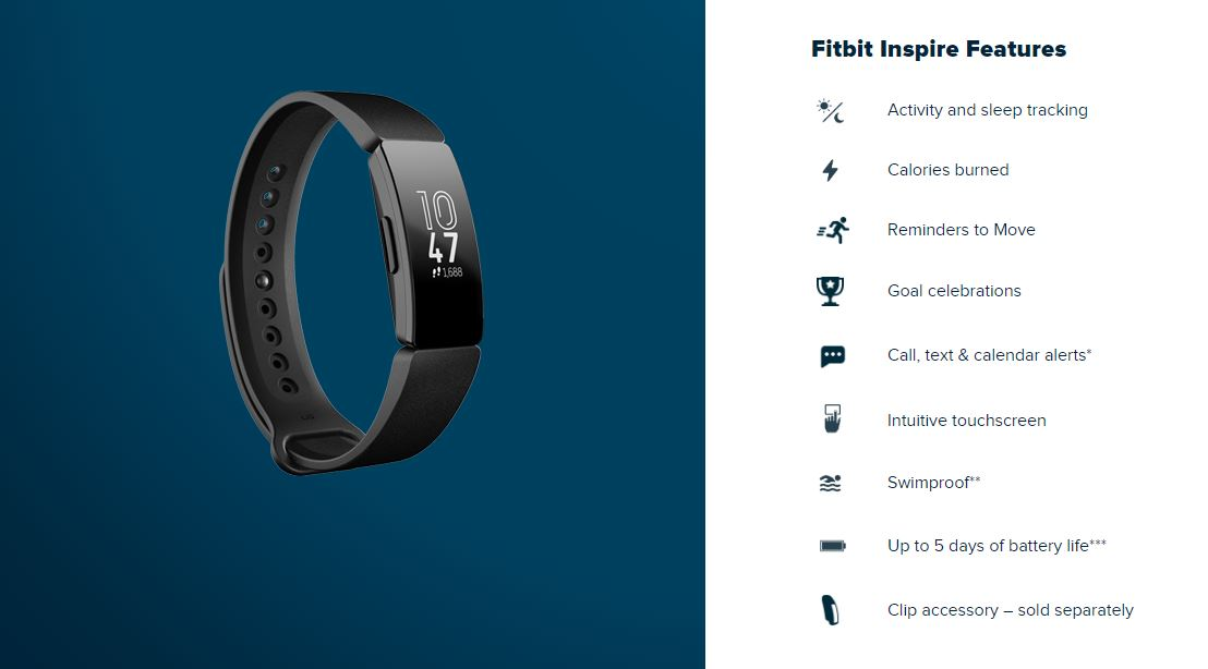 Fitbit Inspire Features