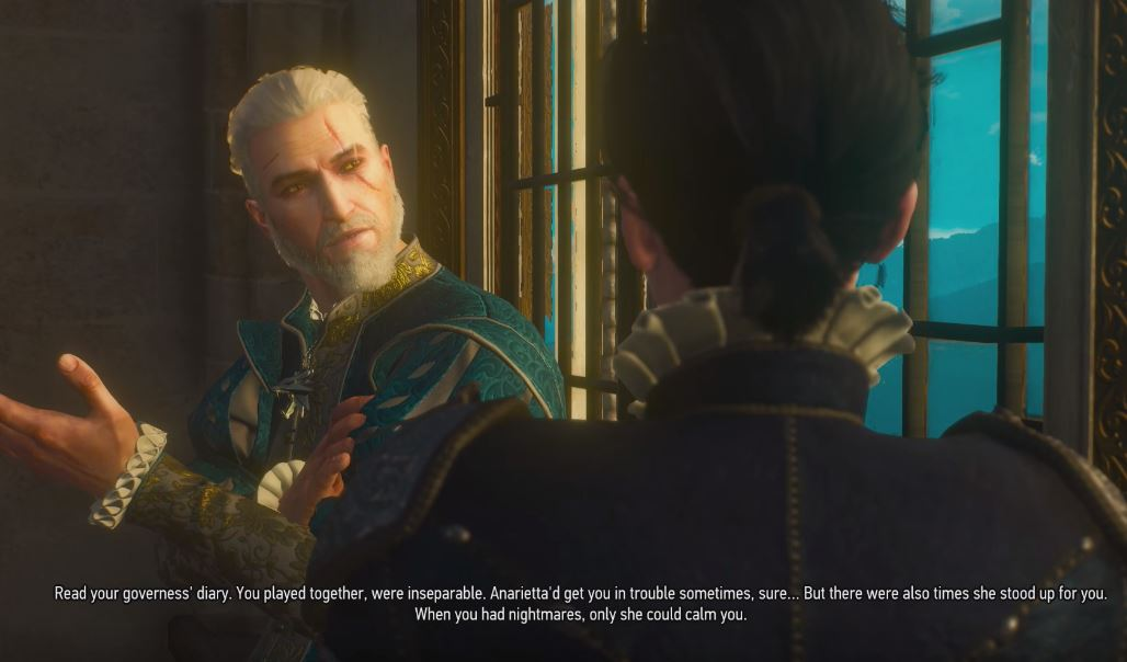 Geralt talks to Syanna at the window Blood and Wine