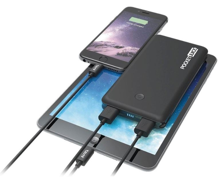 PocketJuice charger charging iPad and iPhone