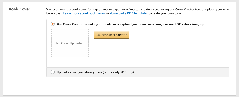 How to use the Kindle Direct Publishing cover creator